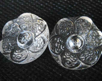 Set of 2 VINTAGE Flower Clear Glass BUTTONS