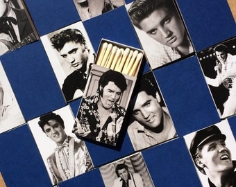 10 Elvis the King Wedding Favor Matchboxes - Presley Memphis Nashville