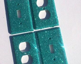 Aqua Glitter Switchplate