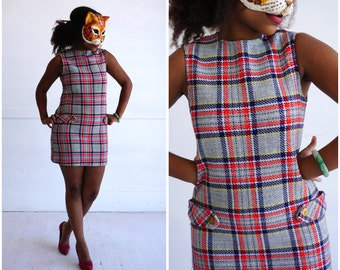 Vintage 60s Mod Plaid Gray/Red/Navy Mini Shift Dress by Sears | Small/Medium