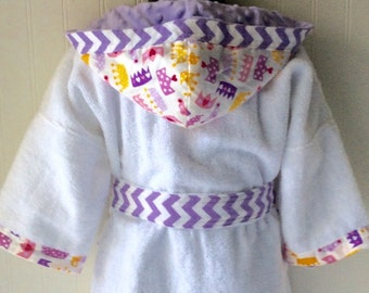 Child Robes-Girl-Girl-Kids-bath-Robe-Princess-Purple-Pink-Crowns-Hearts-Bathrobes-Childrens-Sleepwear-Beach-Hooded-Swim-Suit-Terry-Cover Up