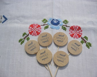 Wedding Food Picks or Cupcake Toppers Meet Greet Repeat - Set of 25 - Item 1697
