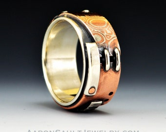 Connection Series - Firescale.  Sterling Silver, Copper and Mokume Ring