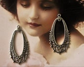 Sterling Silver Ox Plated Filigree Oval Hoops 473SOX x2