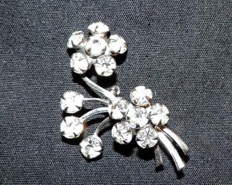 Vintage Rhinestone Pin, Vintage Floral Rhinestone Pin, Vintage Jewelry, Vintage Brooch, Floral Brooch, Gift for Her