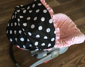 Infant Car Seat Cover, Baby Car Seat Cover in Black with white Dots with Baby Pink minky seat cover, Ruffle optional