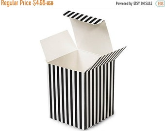 Summer Stock Up Sale 6 Pack Black and White Stripe Paper Tuck Top Style Packaging Retail Gift Boxes 3.25X3.25X3.25 Inch Size