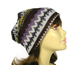 SALE/CUSTOM SIZE/Lining Lightweight Aztec Slouchy Beanie Aztec Sweater Knit Slouch Hat Southwestern Beanies Sweater Knit Slouchy Hat Aztec