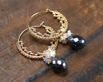 Mystic Black Spinel, Ethiopian Opal 14k gold filled hoop earrings ... JEMMA Earrings