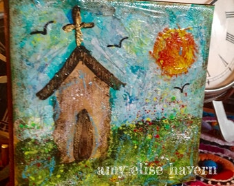 Little Church with a blue sky ... original painting by Artist Amy Elise Havern