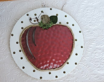 Apple Wood and Metal Wall hanging art