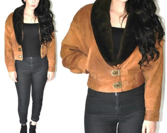 sheepskin leather BOMBER jacket 70s vintage PETITE small brown nubuck suede SHEARLING collar cropped aviator coat small medium