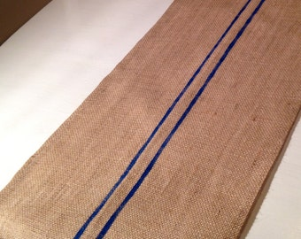 Burlap Table Runner with Blue Stripe