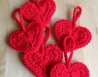 Hand Crocheted Heart Ornament's in Red, Gray, Burgundy (set of five)