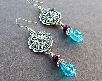 Runway Model Silver Floral Motif Statement Earrings Turquoise & Metallic Purple Crystal