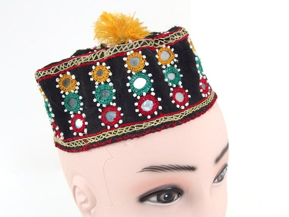Vintage 1950's Traditional Indian Black Embroidered Cap with Mirrors