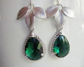 Silver Leaf Earrings, Green Teardrop, Emerald Glass, Bridesmaid Earrings, Wedding Jewelry, Gift for her, gardendiva