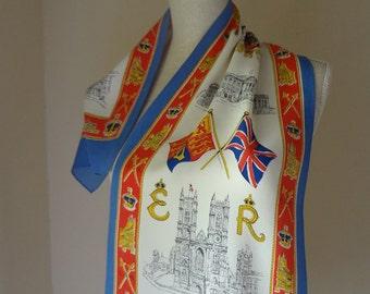 Vintage Queen Elizabeth Head Scarf Coronation Rectangle Royal Symbols Flags Emblems Bright Blue Border- EnglishPreserves