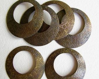 vintage brass hoop earring findings supplies floral & stars