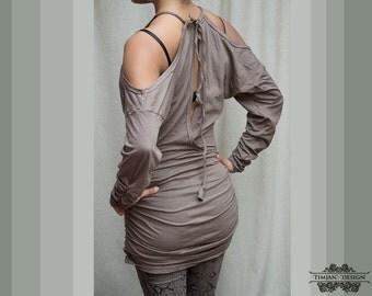 Sale - WASABI DRESS SWEATER - Organic Long sleeve Boho Bohemian Hippie Urban Yoga Pixie Faery Fairy Burning man Goa Gypsy - Grey