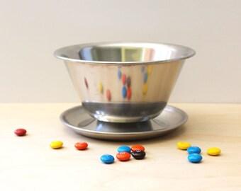 Danish Modern footed serving bowl, 1960s Leonard Denmark stainless steel.