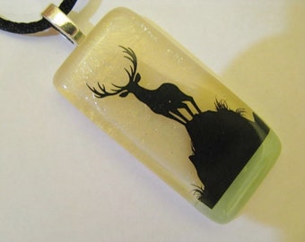 Deer Fused Glass Pendant, Fused Glass Pendant, Nature Scene, Stately Buck Necklace