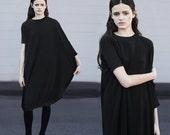 SALE 20% BABOOSHKA Hereafter Midi Dress modern asymmetric crew high neck tunic oversized black t-shirt caftan wide rib knit hem solid day 3/