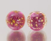 Lampwork Bead Pair - Shimmer in pink. Lampwork glass beads by Jennie Yip