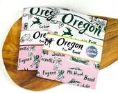 Tea Towel Oregon Green and Vintage Pink on White Flour Sack 100% Cotton