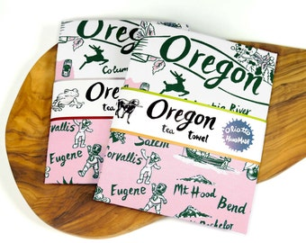 Tea Towel Oregon Green and Vintage Pink on White Flour Sack 100% Cotton