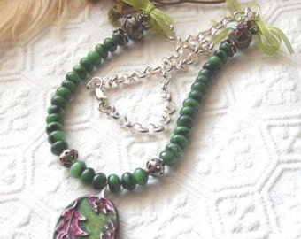SALE......One of a Kind Gemstone, Sterling Silver, Polymer Clay, and Ribbon Necklace