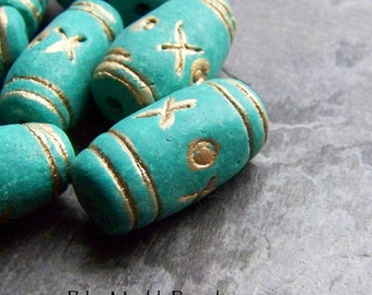 Rustic Beads, Vintage Beads, Clay Beads,Hugs and Kisses, Earthy Beads, Organic Beads, Tribal Beads, Boho Bead, Carved Beads, Turquoise, 6