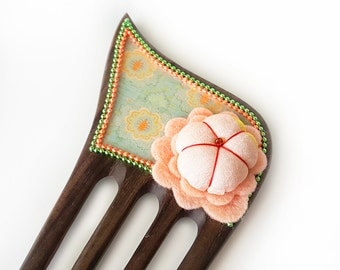 Wooden Hair Comb - Statement comb, decorated wooden comb, silk Japanese kimono puffy flower, felt flower - mint, seafoam, orange, peach