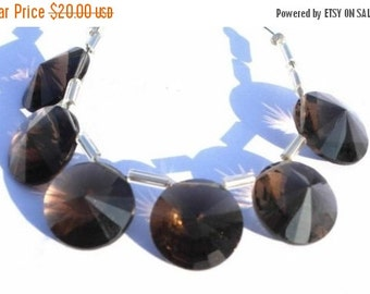 55% OFF SALE 1 Pair AAA Natural Smoky Quartz Faceted Rivoli Cut Briolette Size 14mm Approx