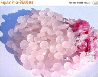 55% OFF SALE 1/2 Strand - Finest Quality Pink Chalcedony Faceted Heart Briolette Size 10x10mm approx Superb Quality with Wholesale Price