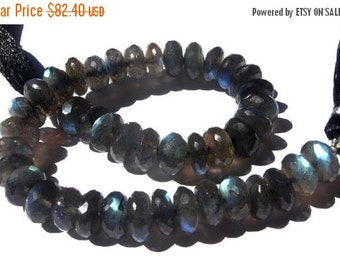 50% Off Valentine day Full 8 Inches- Finest Quality Blue Flashy Genuine AAA Labradorite Faceted Rondelles Size 9mm approx, Wholesale Price