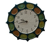 Ceramic Nautical Wheel Wall Clock in Blue Jade (13 inches in diameter)
