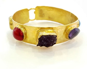 Gemstones Bangle Cuff Bracelet - Gold Plated - Exotic - Bezel Set