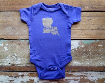 Purple and Gold Home Sweet Home Louisiana Baby Creeper One Piece Body Suit