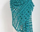 Lace crochet shawl, teal, Cotton,  N407