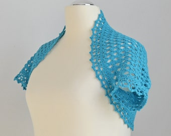Crochet shrug, bolero, aqua, Cotton, Size L / XL,  P479
