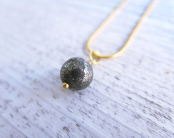 Pyrite Necklace Gemstone Necklace Gold Pyrite Sphere Dainty Delicate Necklace Fools Gold Iron Pyrite