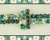 Beads Flower Bars / Bangles with Aqua Swarovski Crystal Elements ~ 2 Hole Sliders QTY 3