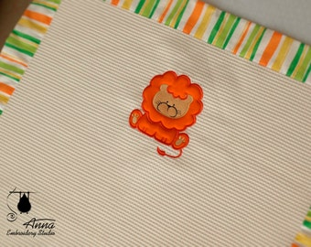 """Embroidered summer baby blanket. Lion blanket for newborn. 30""""x40"""" approx. 100% cotton pique fabric."""