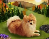 POMERANIAN DOG  with Scenery ART on One 16 inch square fabric panel to sew