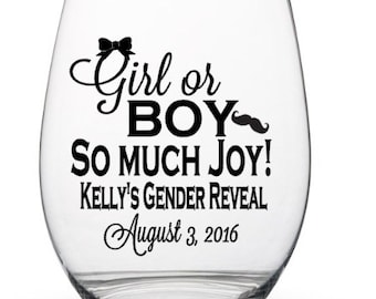 Personalized Gender Reveal Party Wine Glass Decals, Baby Reveal DIY Wine Glass Decals, Tumbler Decals, Glasses NOT Included