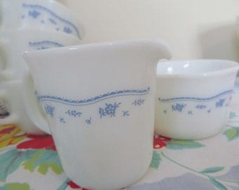 Pyrex Blue Floral on White Sugar Bowl, Creamer, Three Cups - Milk Glass Shabby Vintage Cottage