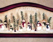 Cute Primitive Snowman Wood Welcome Sign by Laurie Sherrell Maurey