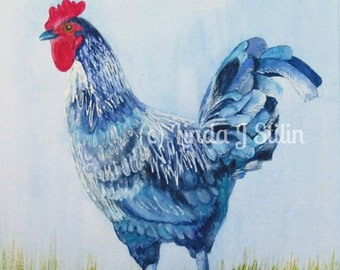 """Original Watercolor painting, Rooster, 8 x 10 inch painting, matted for 11 x 14"""" frame"""