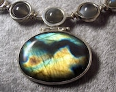 STORM CLOUD - Necklace in, Labradorite, Moonstone, and Sterling Silver